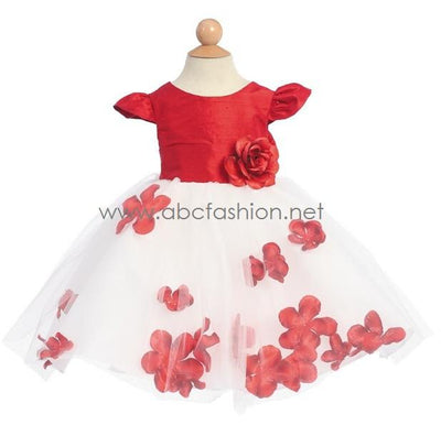 Red Baby Girl Silk Dress with Flower Tulle Skirt-Girls Formal Dresses-ABC Fashion