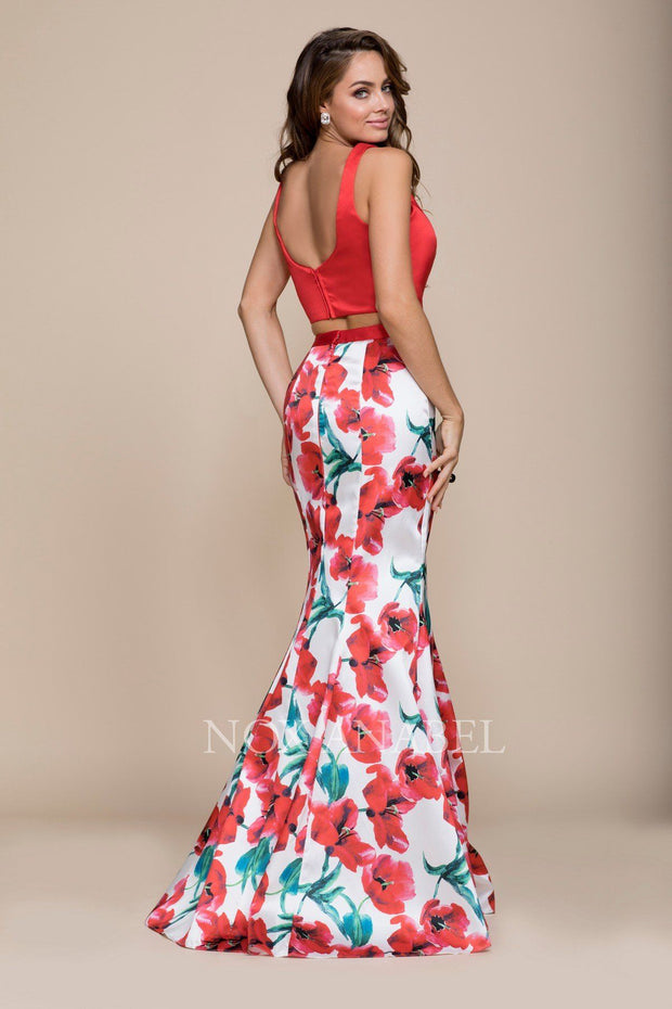 Red Floral Print Long Two-Piece Dress by Nox Anabel 8313-Long Formal Dresses-ABC Fashion