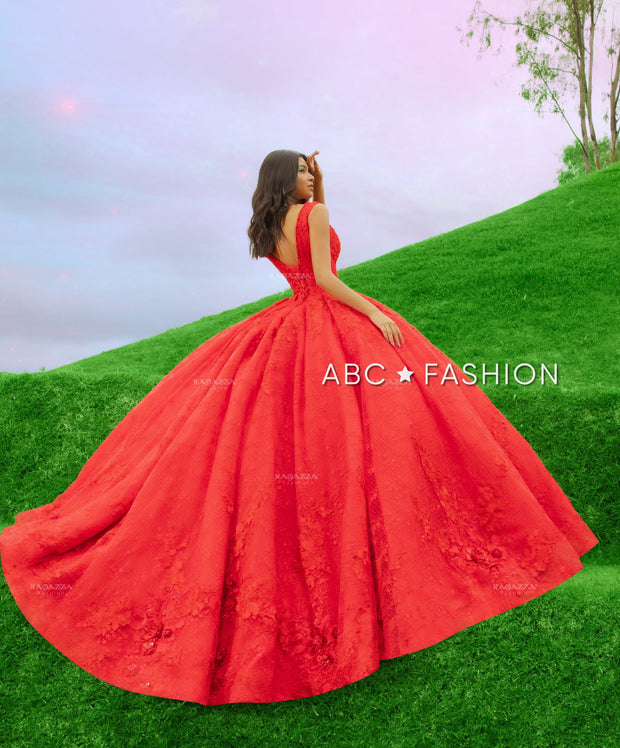 Red Lace Quinceanera Dress by Ragazza DV59-559
