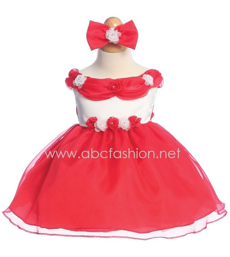 Red Organza Baby Girl Dress with Rose Details - 7 Colors-Girls Formal Dresses-ABC Fashion