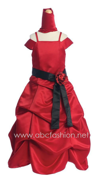 Red Satin Pick Up Dress with Black Sash-Girls Formal Dresses-ABC Fashion