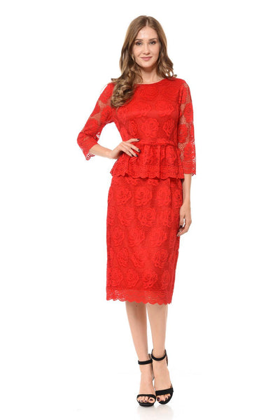 Red Short Floral Lace Dress with Sleeves by Lenovia-Short Cocktail Dresses-ABC Fashion
