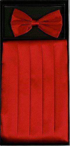 Red Silk Satin Cummerbund and Bow Tie Set-Men's Cummerbund-ABC Fashion