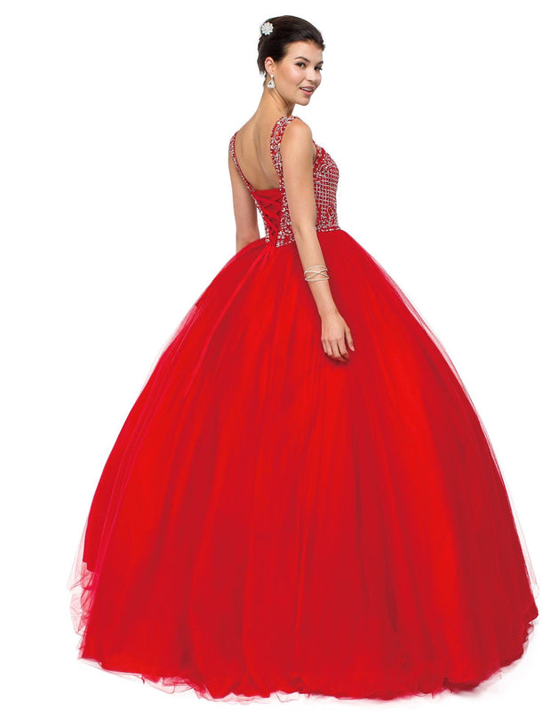 Red Sleeveless Beaded A-line Ball Gown by Dancing Queen 1122-Quinceanera Dresses-ABC Fashion