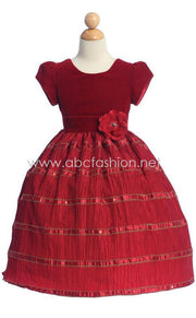 Red Velvet and Taffeta Girls Holiday Dress-Girls Formal Dresses-ABC Fashion