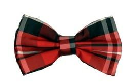 Red/Black Plaid Bow Ties with Matching Pocket Squares-Men's Bow Ties-ABC Fashion