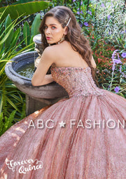 Rose Gold Strapless Glitter Quinceanera Dress by Forever Quince FQ808-Quinceanera Dresses-ABC Fashion