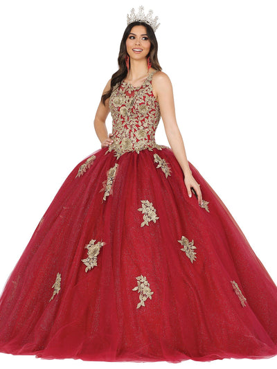 Rosette Applique Glitter Ball Gown by Dancing Queen 1484