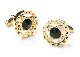 Round Gold Cufflinks with Black and Clear Crystals-Men's Cufflinks-ABC Fashion