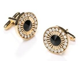 Round Gold Cufflinks with Black Gem and Clear Crystals-Men's Cufflinks-ABC Fashion