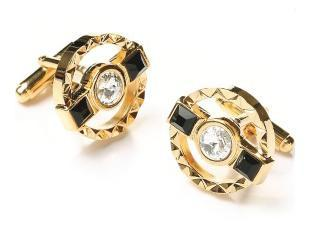 Round Gold Cufflinks with Black Stone and Clear Crystal-Men's Cufflinks-ABC Fashion