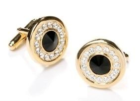 Round Gold Cufflinks with Black Stone and Clear Crystals-Men's Cufflinks-ABC Fashion