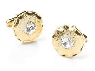 Round Gold Cufflinks with Clear Crystal-Men's Cufflinks-ABC Fashion