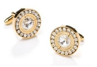 Round Gold Cufflinks with Clear Crystals-Men's Cufflinks-ABC Fashion