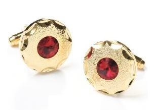 Round Gold Cufflinks with Red Crystal-Men's Cufflinks-ABC Fashion