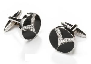 Round Silver and Black Cufflinks with Clear Crystals-Men's Cufflinks-ABC Fashion