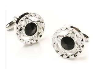 Round Silver Cufflinks with Black and Clear Crystals-Men's Cufflinks-ABC Fashion