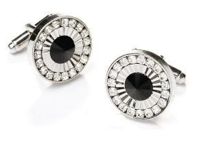 Round Silver Cufflinks with Black Stone and Clear Crystals-Men's Cufflinks-ABC Fashion