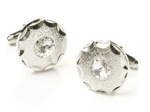 Round Silver Cufflinks with Clear Crystal-Men's Cufflinks-ABC Fashion