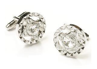 Round Silver Cufflinks with Clear Crystals-Men's Cufflinks-ABC Fashion
