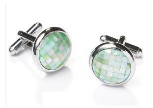 Round Silver Cufflinks with Green Mosaic-Men's Cufflinks-ABC Fashion