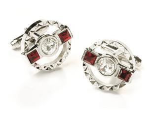 Round Silver Cufflinks with Red and Clear Crystals-Men's Cufflinks-ABC Fashion