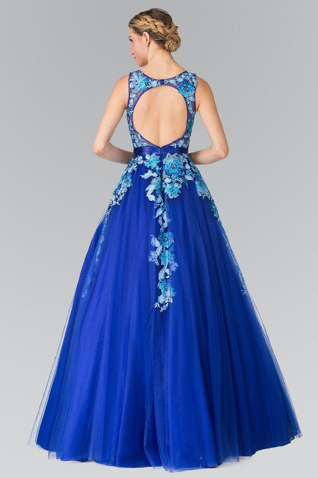 Royal Blue Floral Embroidered Illusion Ballgown by Elizabeth K GL2252-Long Formal Dresses-ABC Fashion