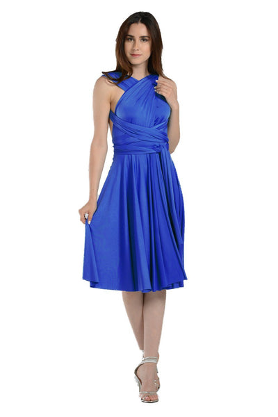 Royal Blue Short Convertible Jersey Dress by Poly USA-Short Cocktail Dresses-ABC Fashion