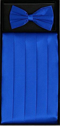 Royal Blue Silk Satin Cummerbund and Bow Tie Set-Men's Cummerbund-ABC Fashion