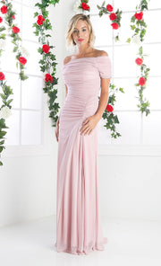 Ruched Long Dress with Short Sleeves by Cinderella Divine 3813-Long Formal Dresses-ABC Fashion