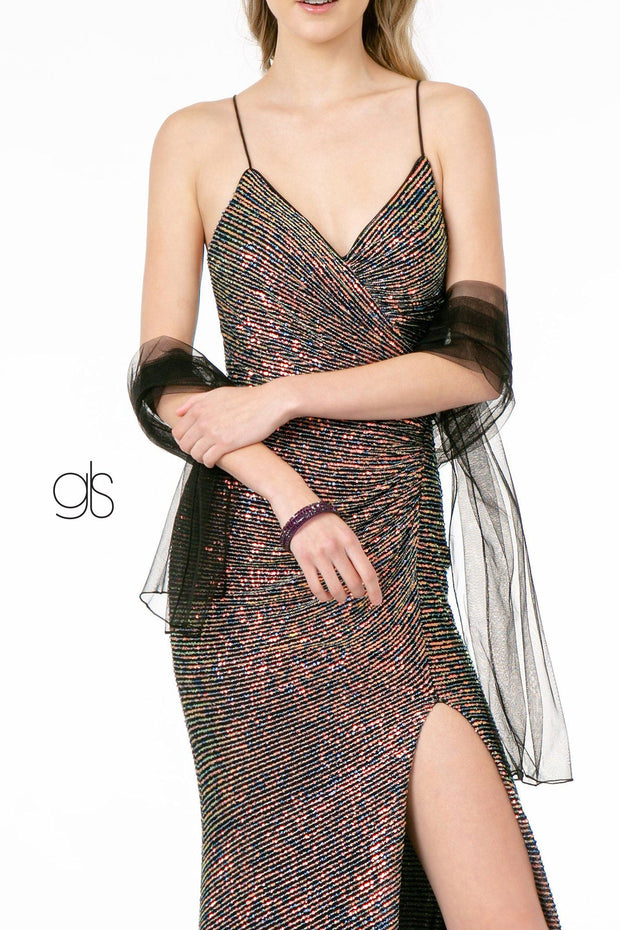 Ruched Long Fitted Sequin Dress with Side Slit by Elizabeth K GL1813