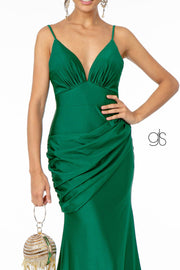 Ruched Long Fitted Sleeveless Dress by Elizabeth K GL1815