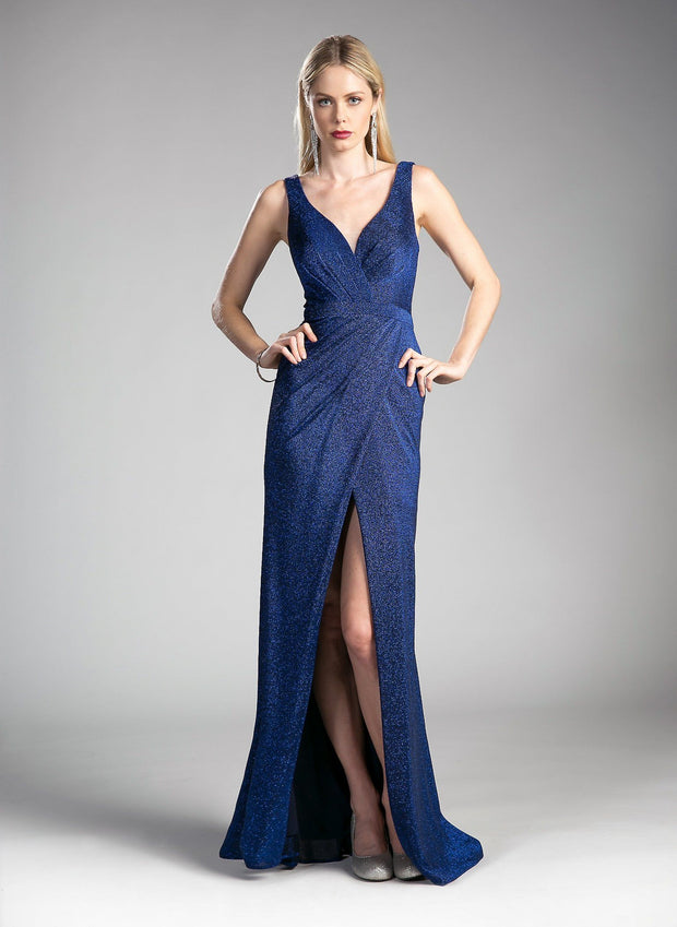 Ruched Long Formal V-Neck Dress with Slit by Cinderella Divine CH551-Long Formal Dresses-ABC Fashion