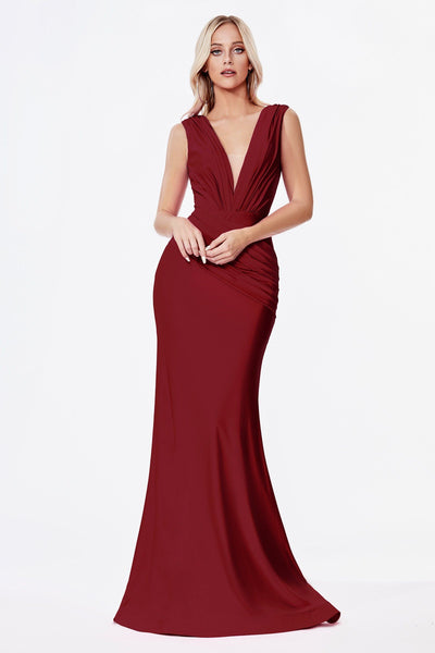Ruched Long Satin V-Neck Dress by Cinderella Divine CD912