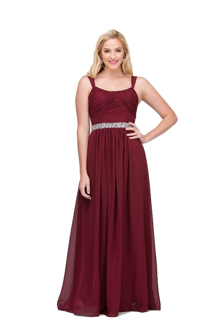 Ruched Long Sleeveless Dress with Beaded Waist by Star Box 6423-Long Formal Dresses-ABC Fashion