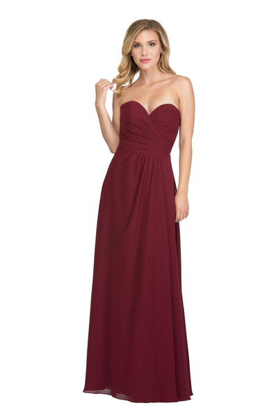 Ruched Long Strapless Dress with Slit by Star Box 6425-Long Formal Dresses-ABC Fashion
