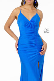 Ruched Long V-Neck Dress with Corset Back by Elizabeth K GL1816