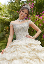 Ruched Off Shoulder Quinceanera Dress by Mori Lee Vizcaya 89296