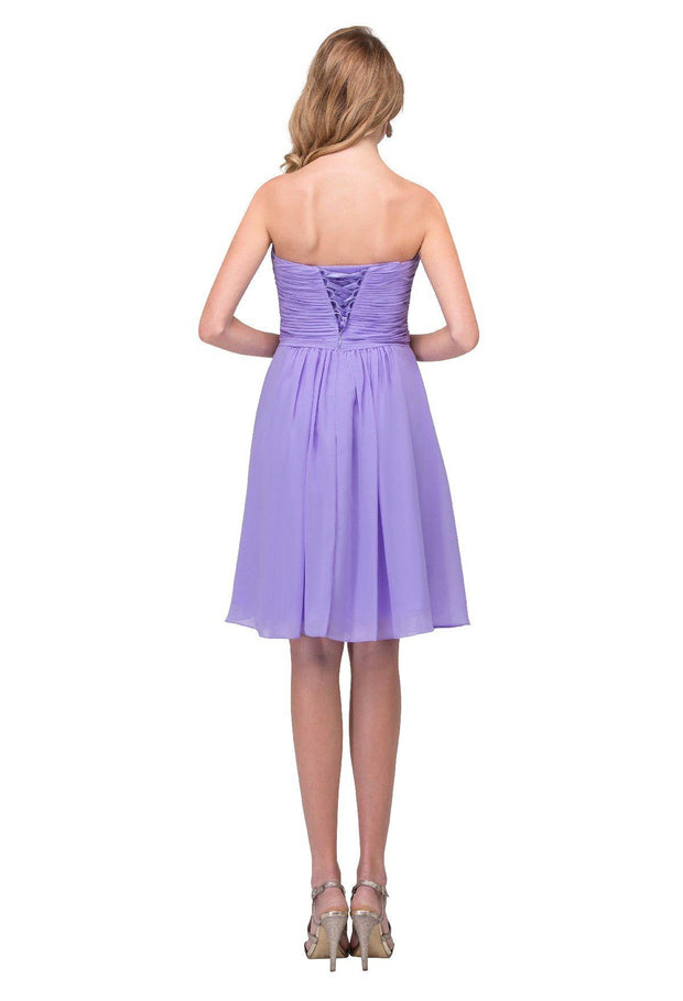 Ruched Short Front Twist Dress with Corset Back by Star Box 6017-1-Short Cocktail Dresses-ABC Fashion