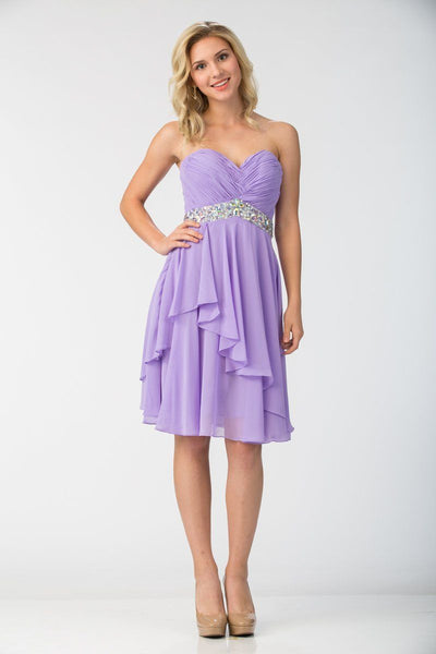 Ruched Short Knee Length Dress with Beaded Waist by Star Box 6069-Short Cocktail Dresses-ABC Fashion