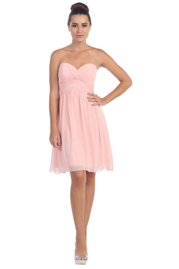 Ruched Short Knee Length Dress with Corset Back by Star Box 6016-1-Short Cocktail Dresses-ABC Fashion