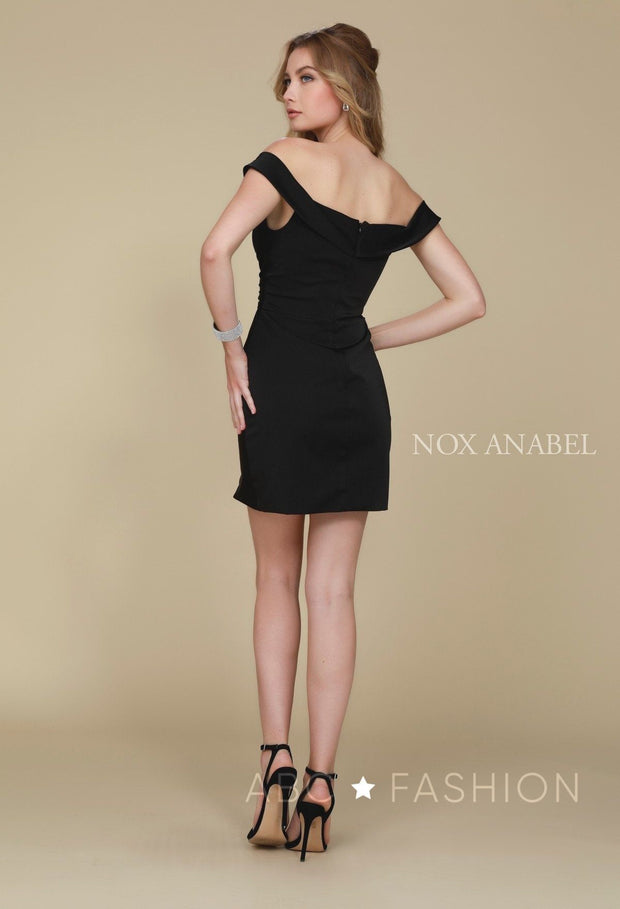Ruched Short Off the Shoulder Dress by Nox Anabel Q601-Short Cocktail Dresses-ABC Fashion
