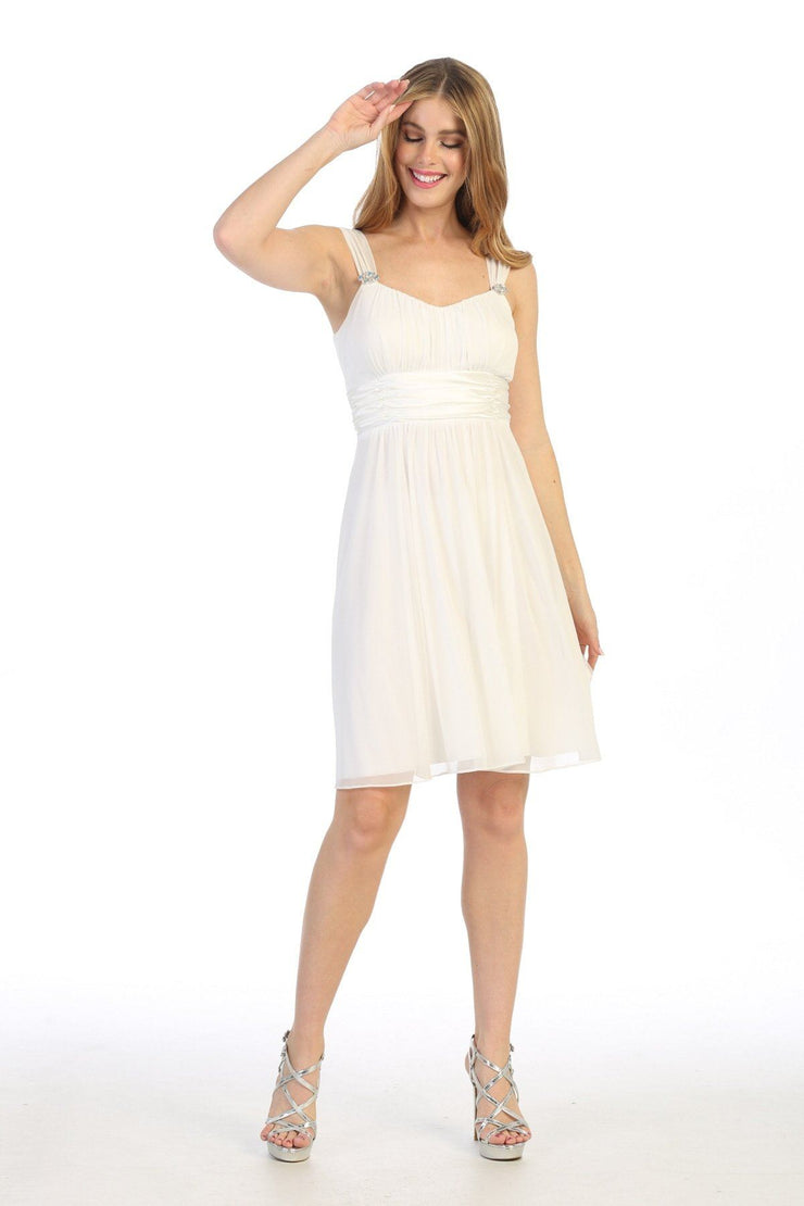 Ruched Short Sleeveless A-line Dress by Celavie 6491