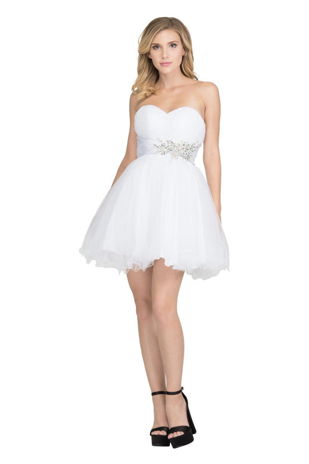 Ruched Short Strapless Dress with Beaded Waist by Star Box 595-Short Cocktail Dresses-ABC Fashion