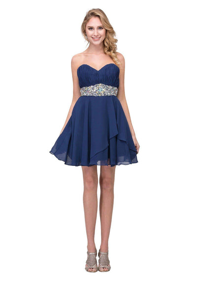 Ruched Short Strapless Dress with Beaded Waist by Star Box 6068-Short Cocktail Dresses-ABC Fashion