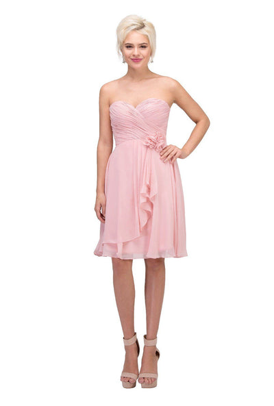 Ruched Short Strapless Dress with Corset Back by Star Box 6015-1-Short Cocktail Dresses-ABC Fashion