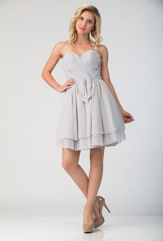 Ruched Short Strapless Dress with Corset Back by Star Box 6173-Short Cocktail Dresses-ABC Fashion