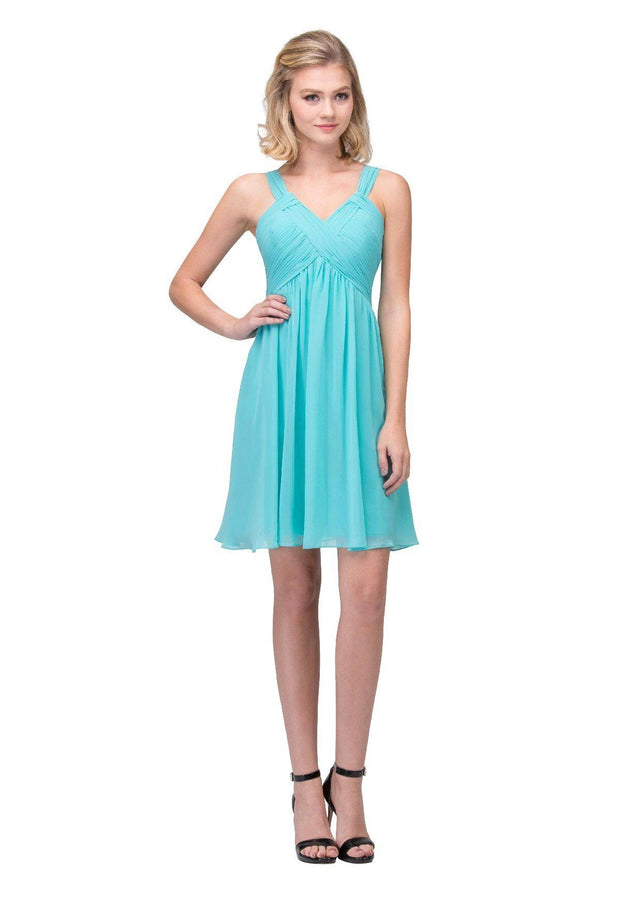 Ruched Short V-Neck Dress with Corset Back by Star Box 17296-Short Cocktail Dresses-ABC Fashion