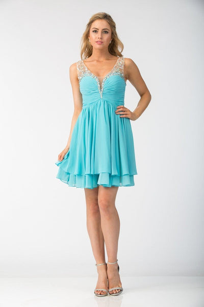 Ruched Short V-Neck Dress with Corset Back by Star Box 6156-Short Cocktail Dresses-ABC Fashion