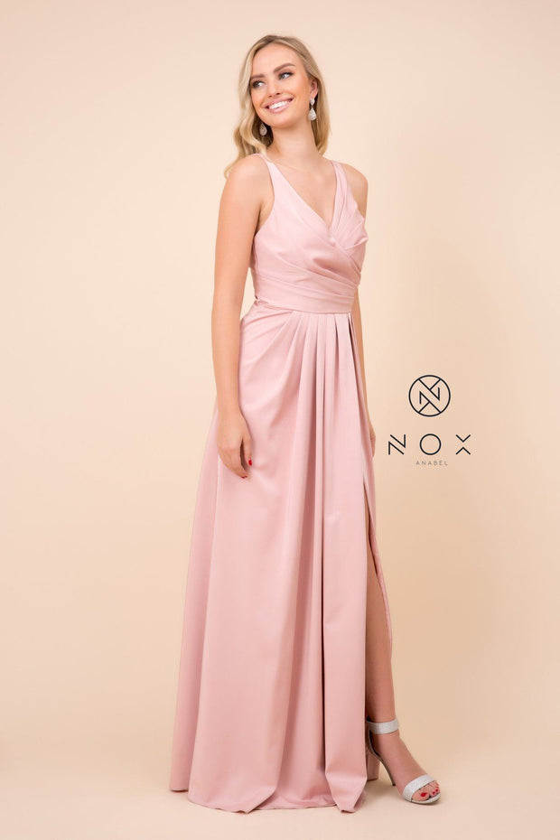 Ruched V-Neck Long Evening Gown by Nox Anabel 8347